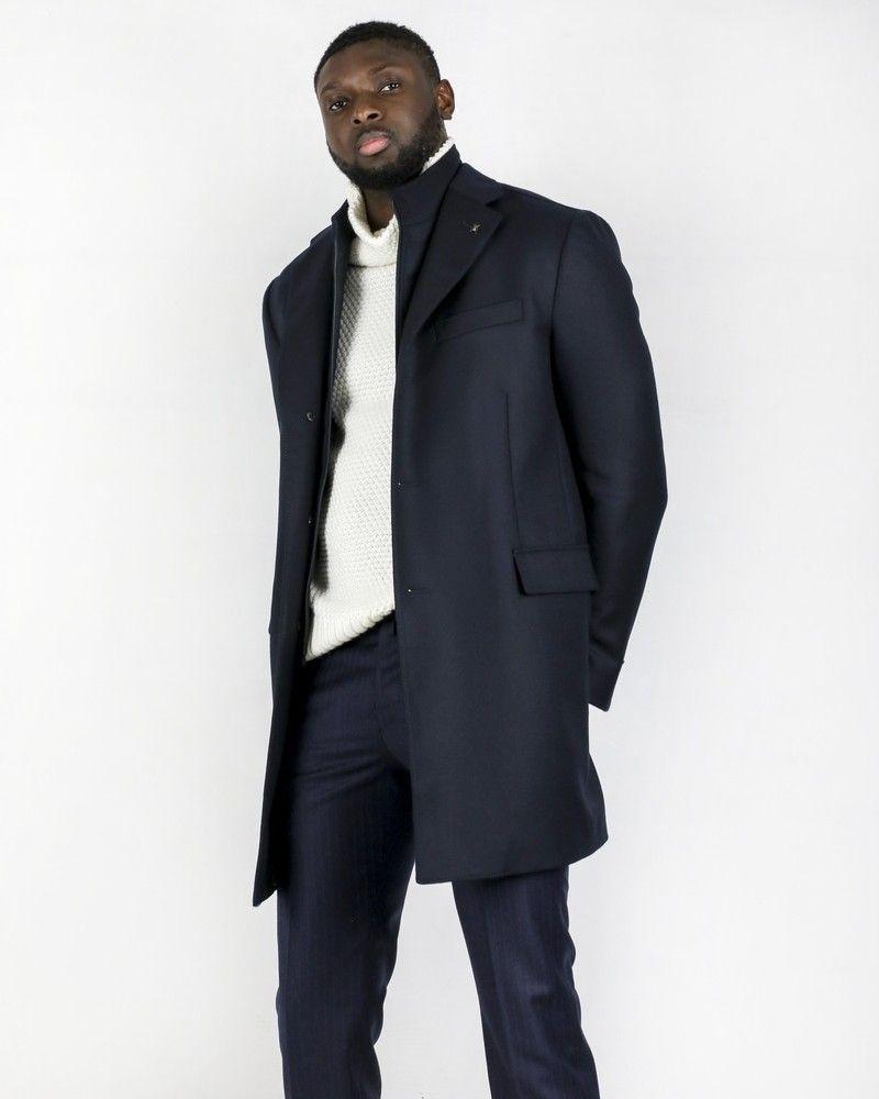 Manteau en laine bleue à gilet combiné Corneliani