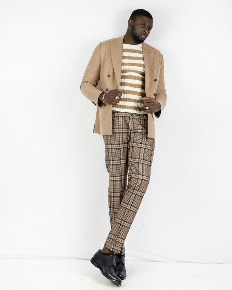 Pantalon tailleur en laine camel à carreaux Casheart