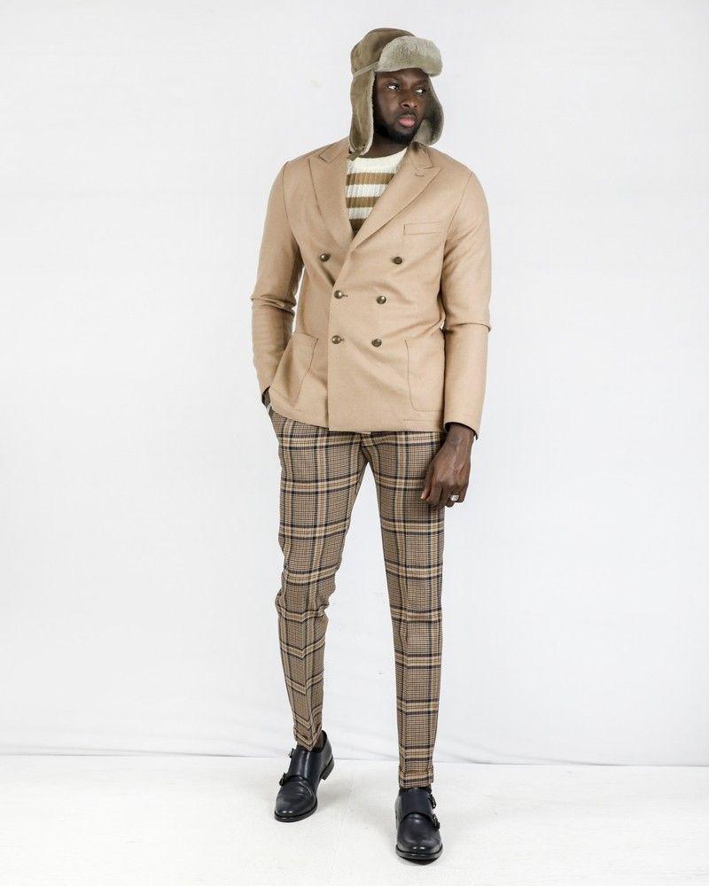 Blazer en laine chinée beige à boutons croisés Eleventy