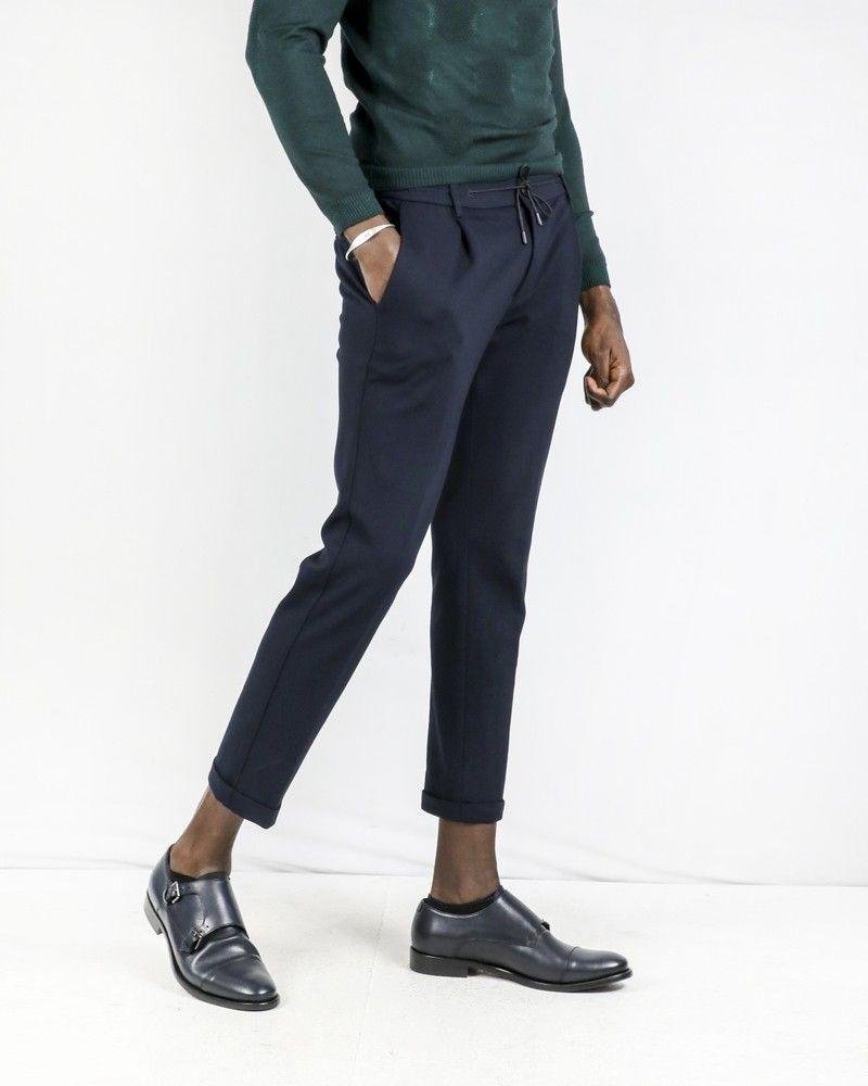 Pantalon façon jogging en crêpe bleue Casheart