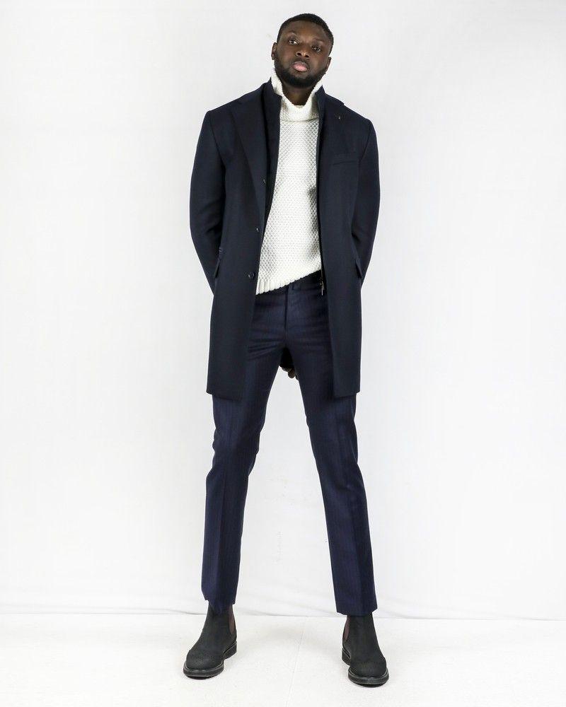 Pantalon tailleur en laine bleue rayée Ly Adams