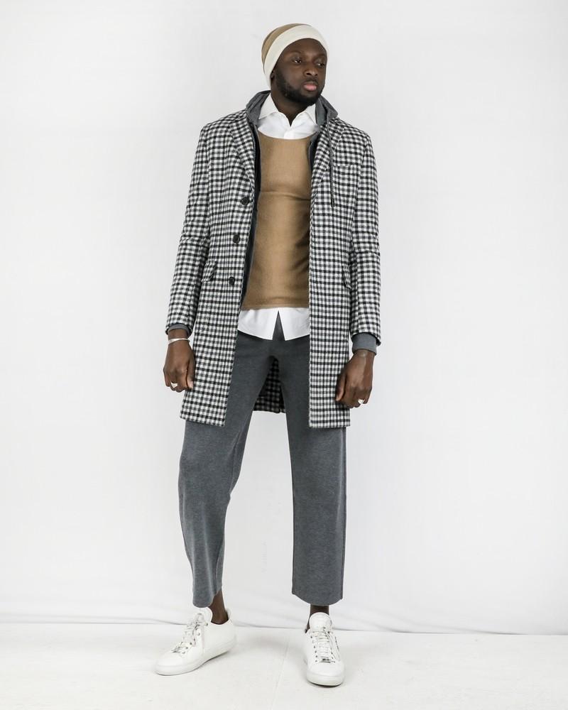 Manteau en laine bicolore à carreaux Corneliani