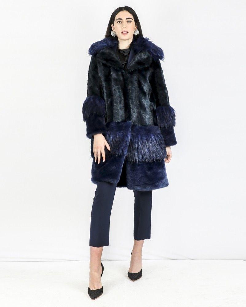 Manteau en fourrure synthétique bicolore Space Simona Corsellini