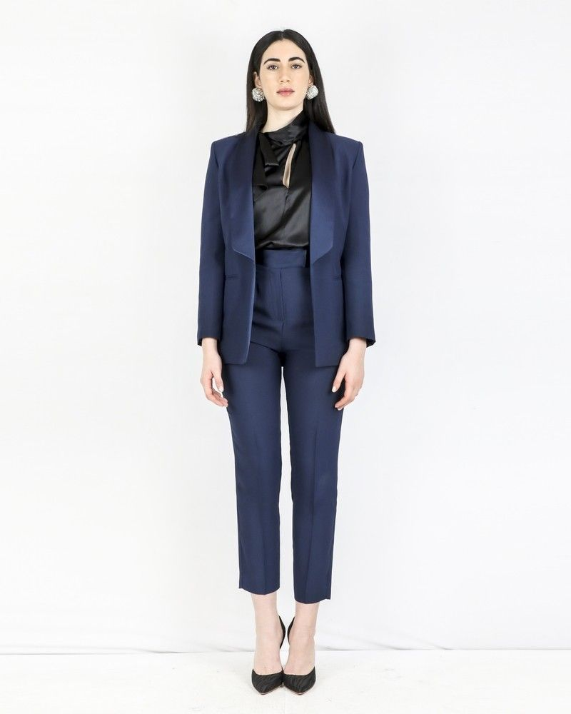Pantalon de smoking en crêpe bleue Space Simona Corsellini