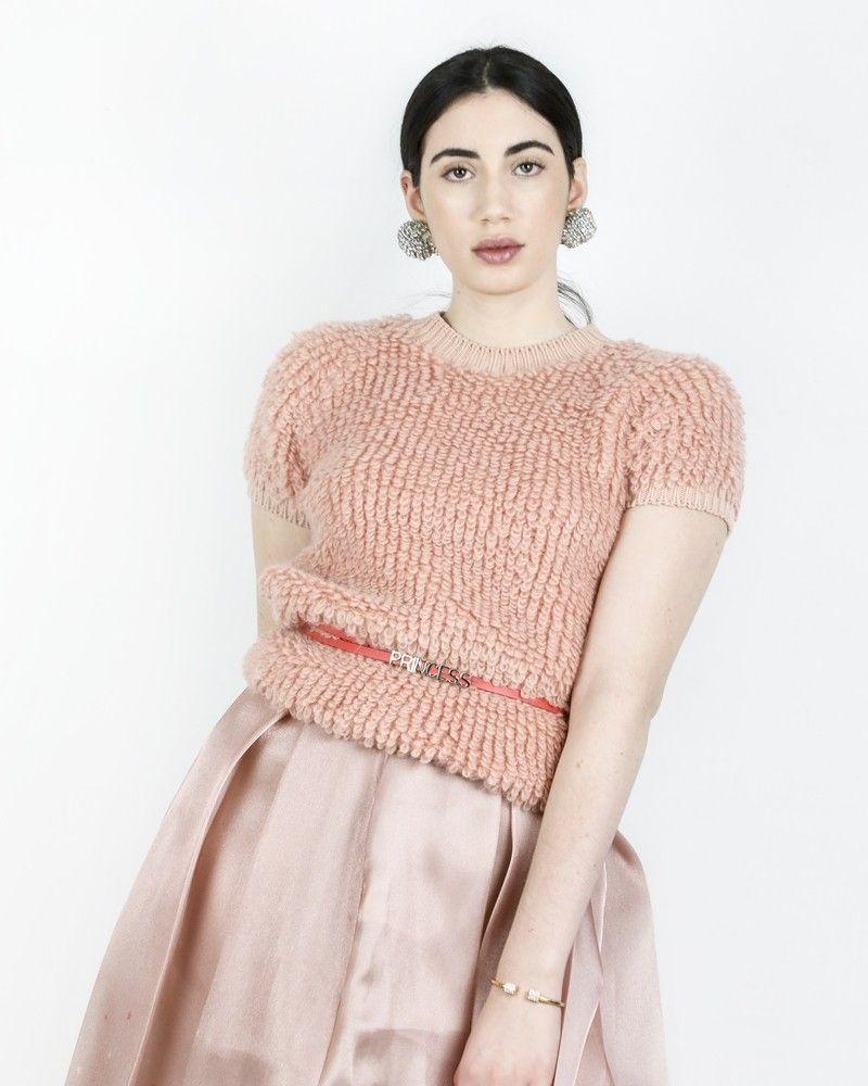 Pull en mohair rose à point bouclette Elisabetta Franchi