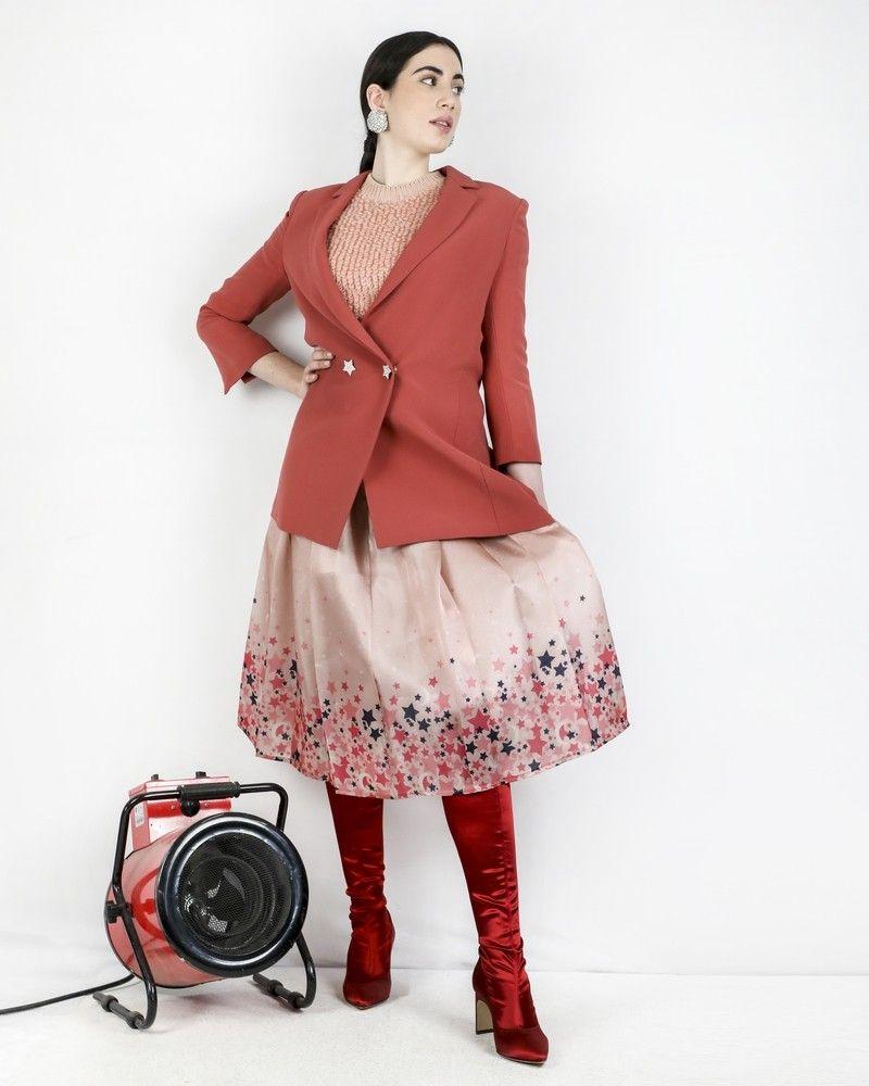 Jupe à gros plis rose étoilée Elisabetta Franchi