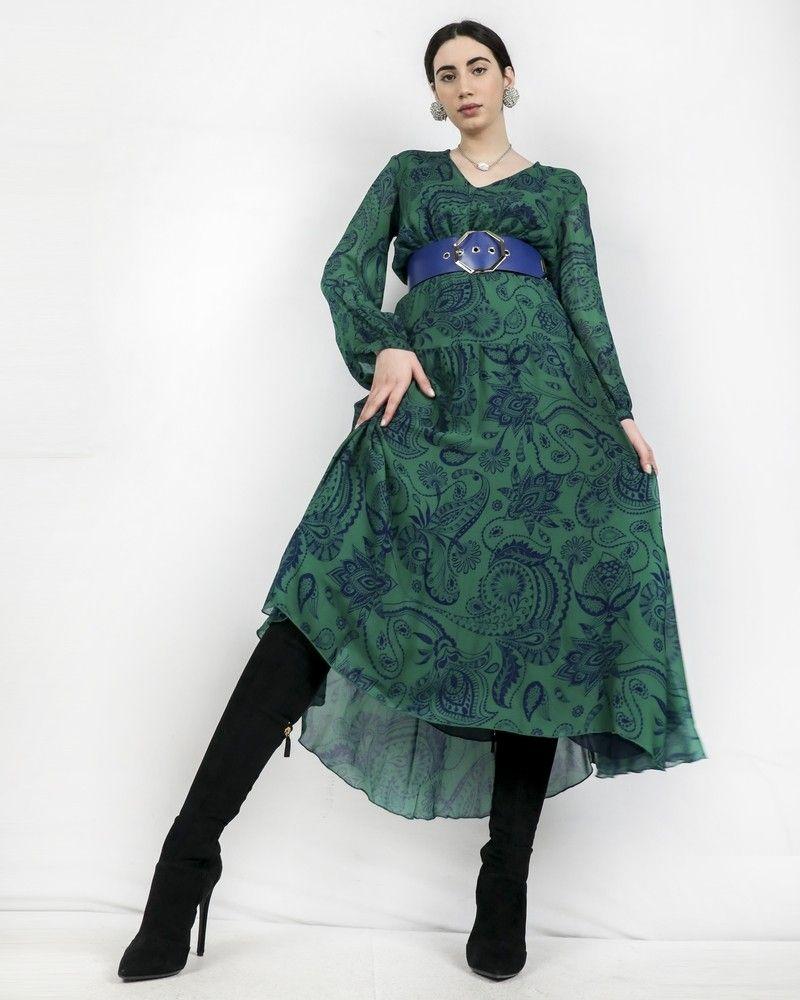 Robe empire verte à imprimé cachemire Space Simona Corsellini