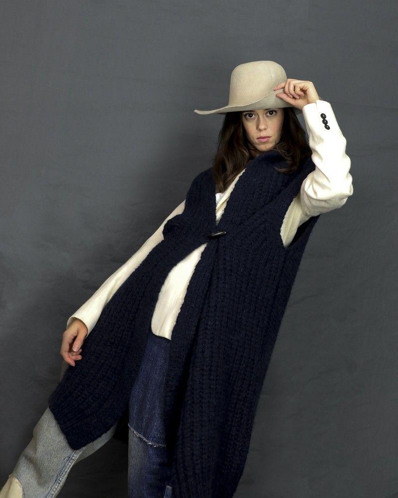 Gilet sans manches en laine mélangée bleue Pomandère
