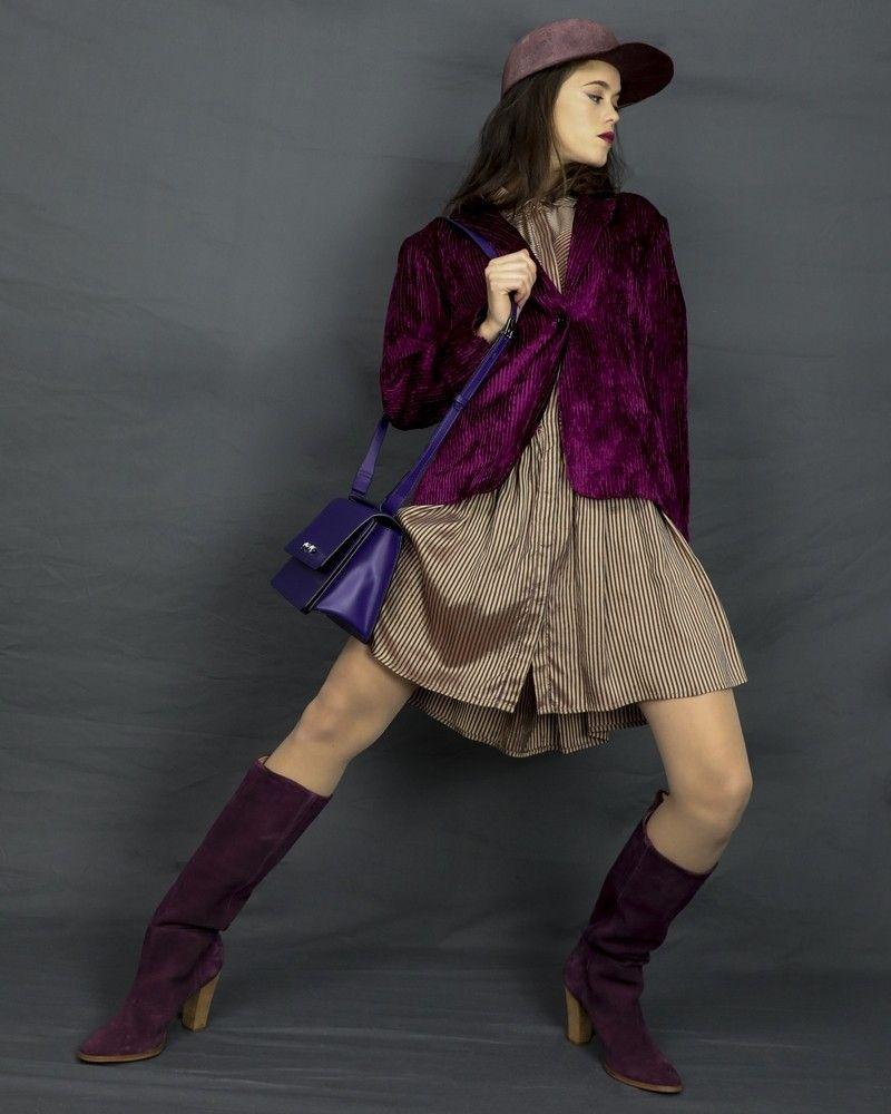 Robe en soie rayée bicolore Momoni