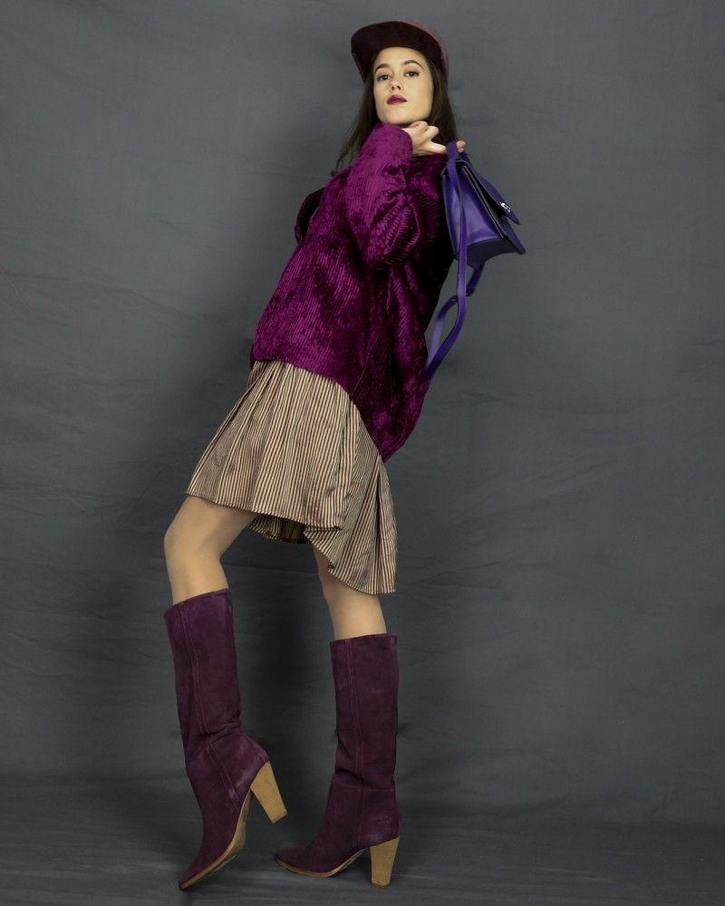 Veste en velours côtelé violet Momoni