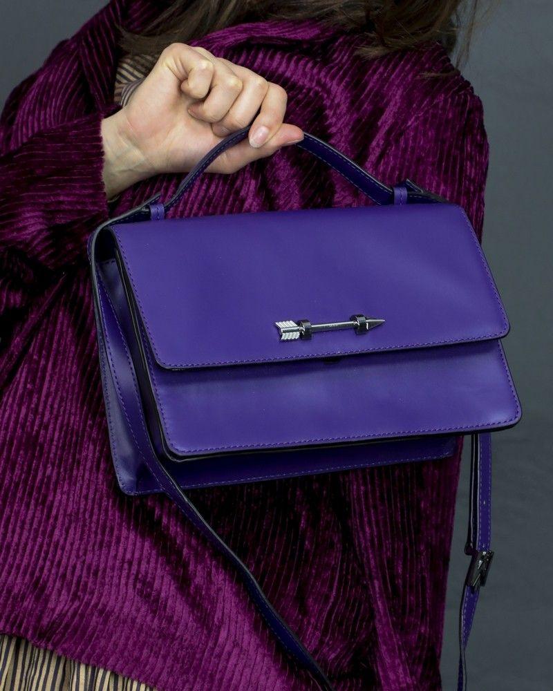 Sac à main en cuir violet Mackage