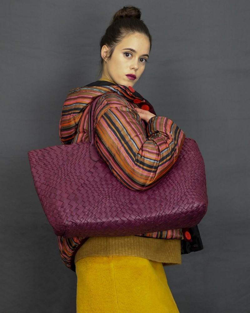 Sac cabas en peau tréssée violette Falorni Femme