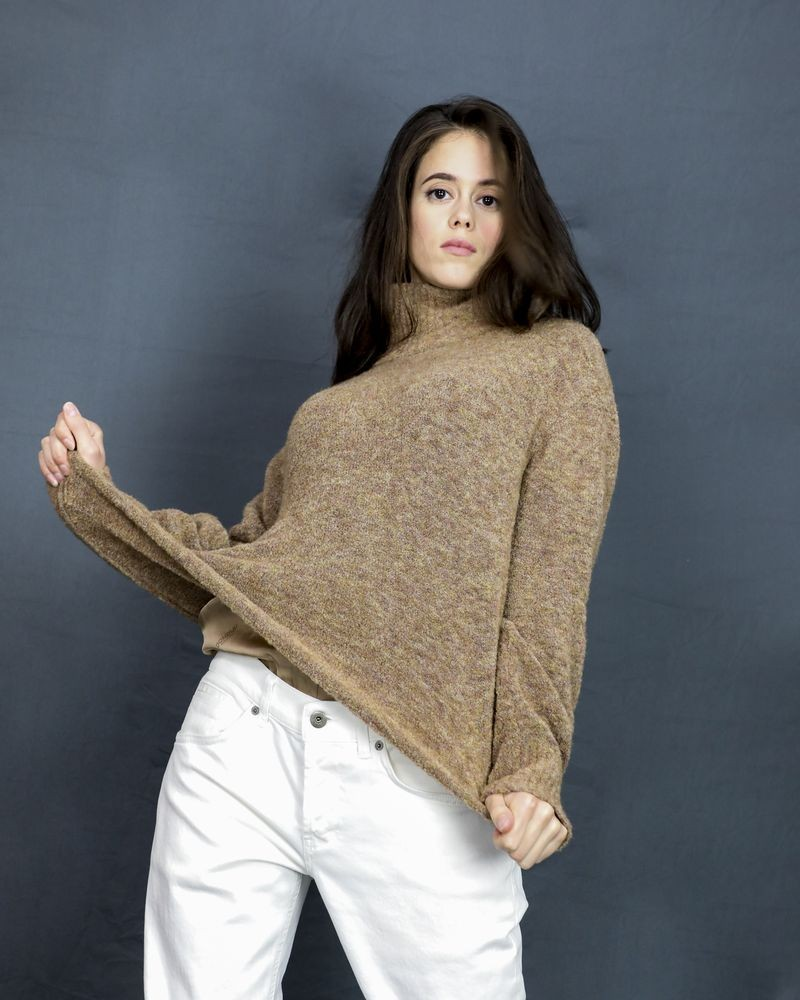 Pull col roulé beige Dondup