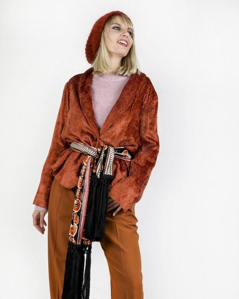 Veste en velours côtelée orange Momoni