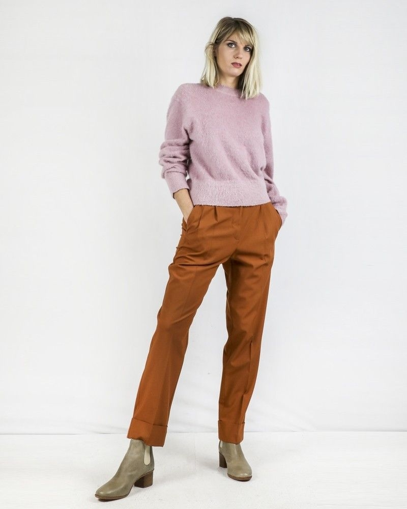 Pantalon à pince en laine camel Momoni