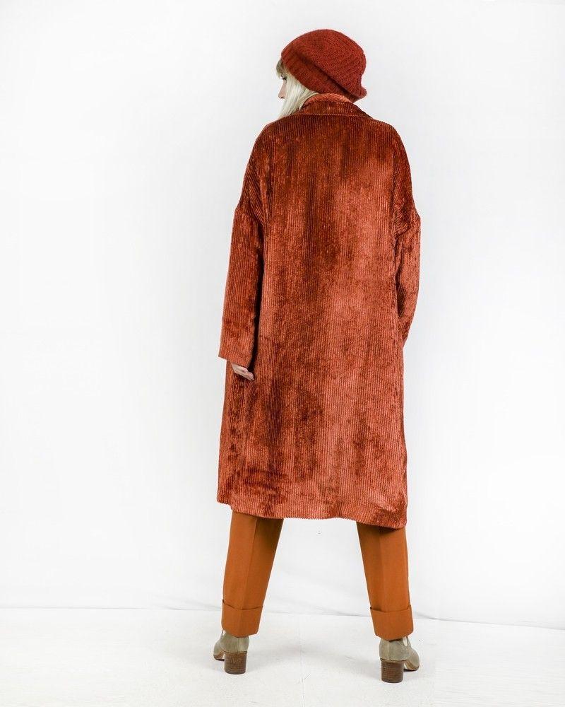 Manteau en velours côtelée orange Momoni