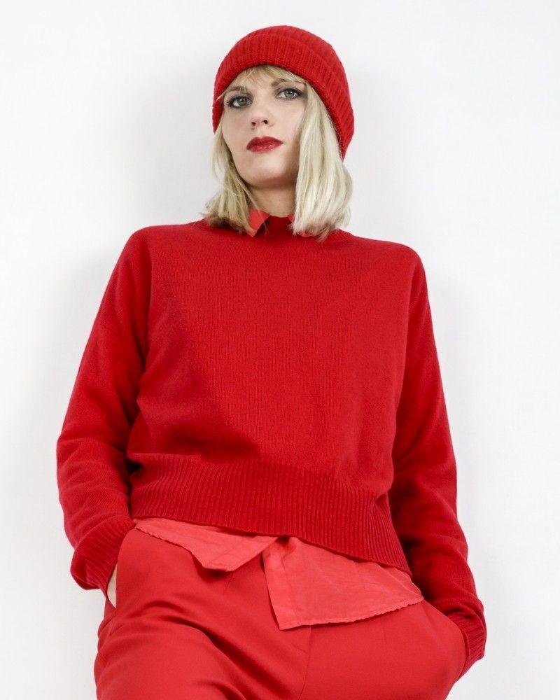 Pull en cachemire rouge Momoni