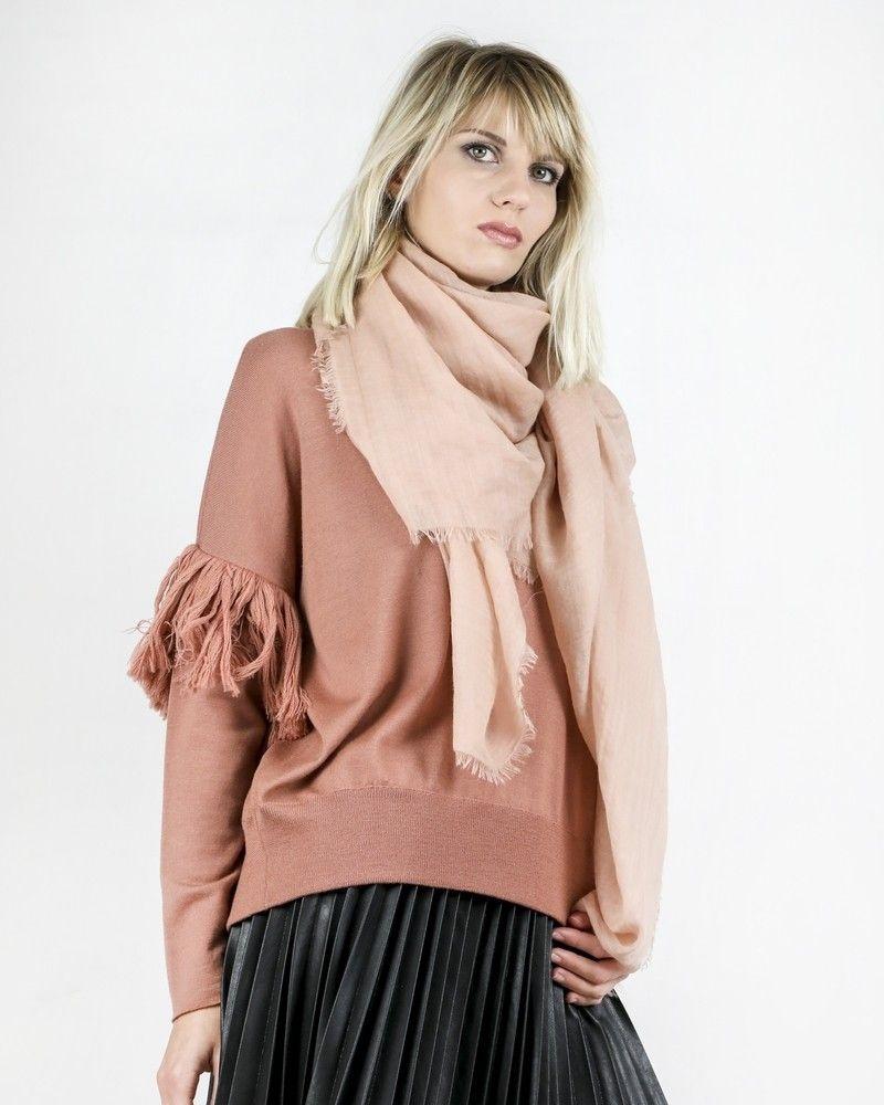 Pull en laine vieux rose frangé Nude