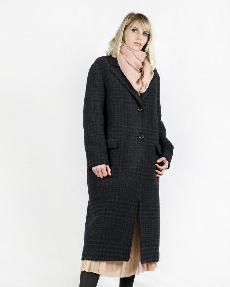 Manteau gris à motif pieds de poules Palto