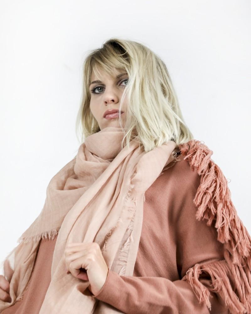 Maxie foulard 100% cachemire rose poudrée Pomandère