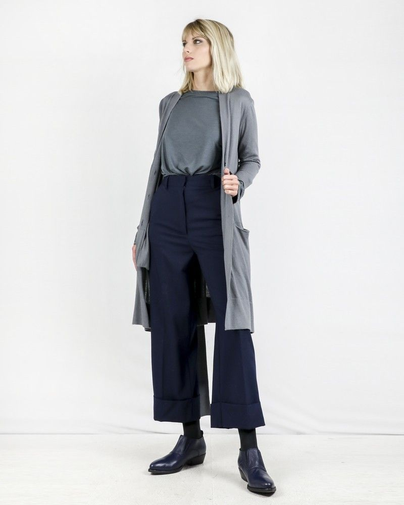 Pantalon large 100% laine bleu Space Simona Corsellini