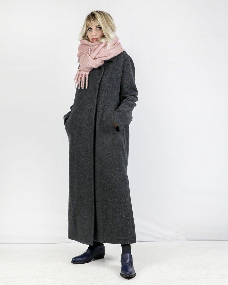 Manteau long en laine bouillie grise Palto