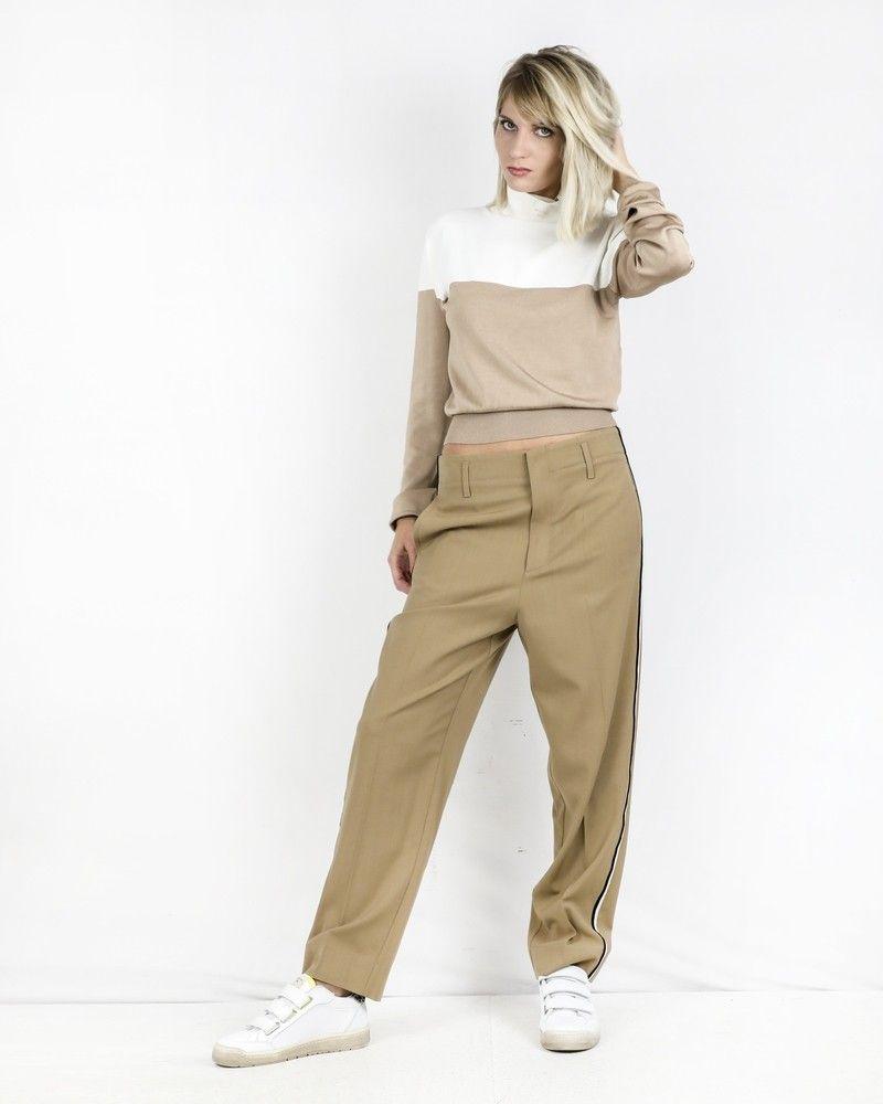 Pantalon en laine beige à bandes latérales Forte Forte