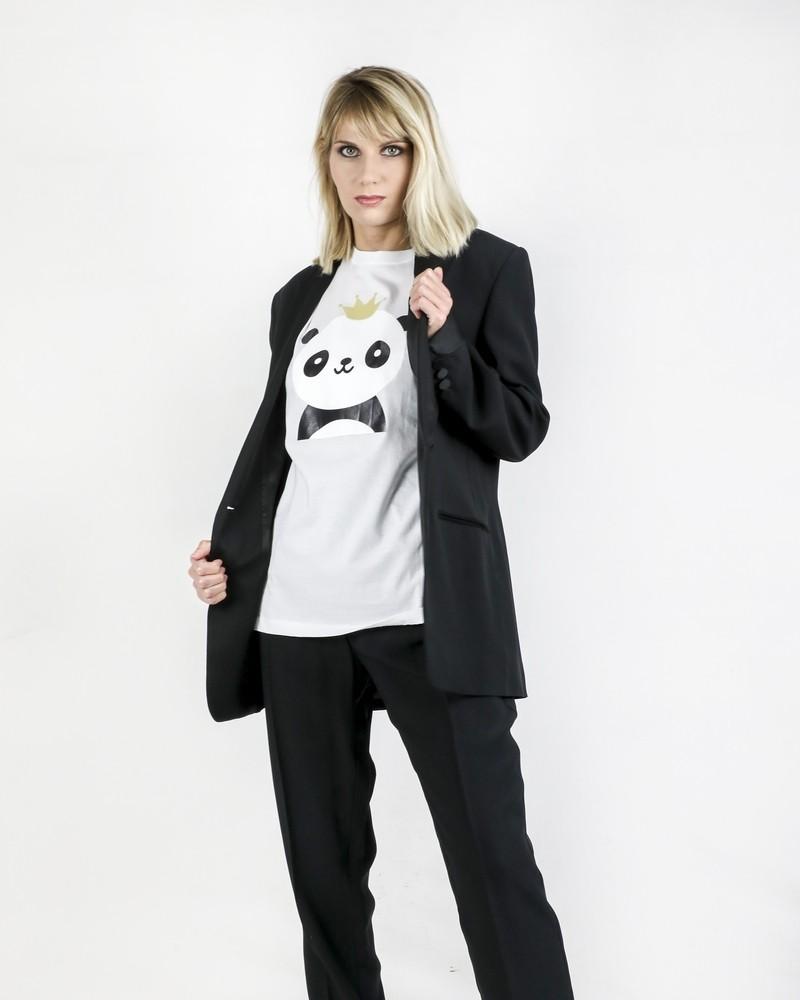 T-Shirt blanc à flocage panda Jijil