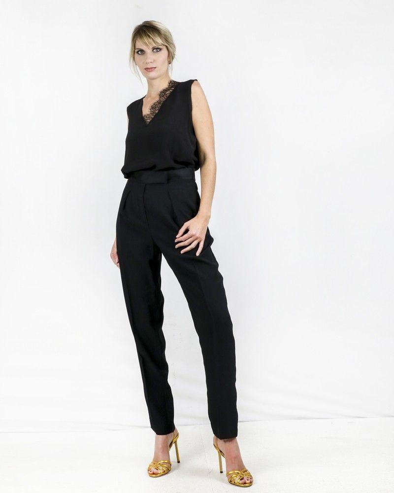 Pantalon de smoking en crêpe noir Space Simona Corsellini