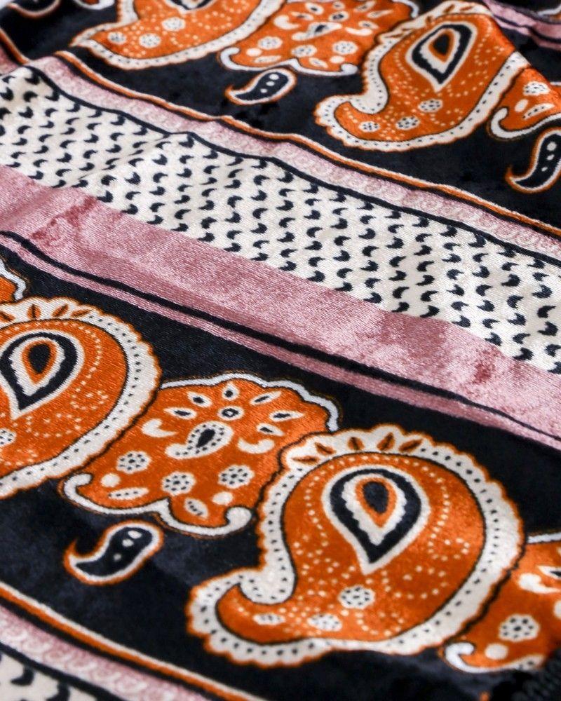 Echarpe en velours multicolore à finition macramée Forte Forte
