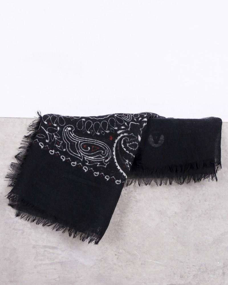 Bandana en laine noir à motifs fantaisies Daniele Alessandrini