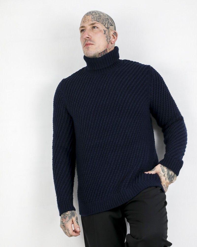 Pull en laine bleue à motif tressé Pal Zileri
