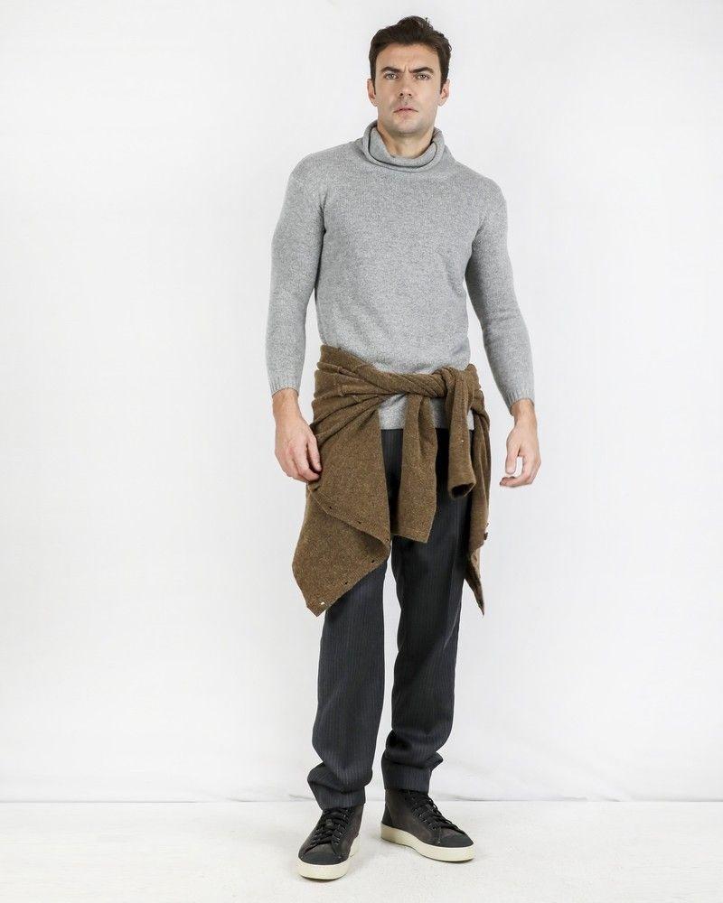 Pantalon carotte 100% laine grise rayée Ly Adams