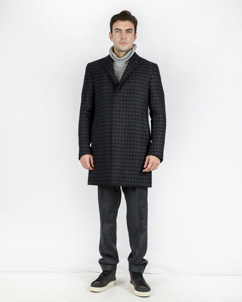 Manteau en laine et cachemire bicolore à pieds de poule Coreliani