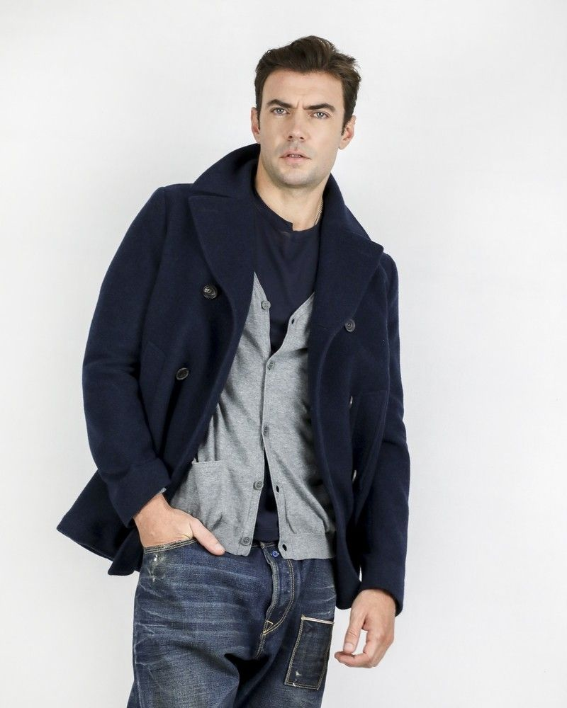 Manteau caban 100% cachemire bleu Corneliani