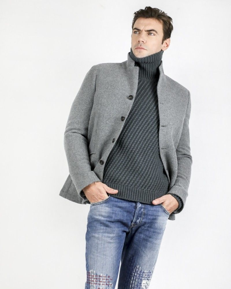 Manteau officier en alpaga gris Ly Adams