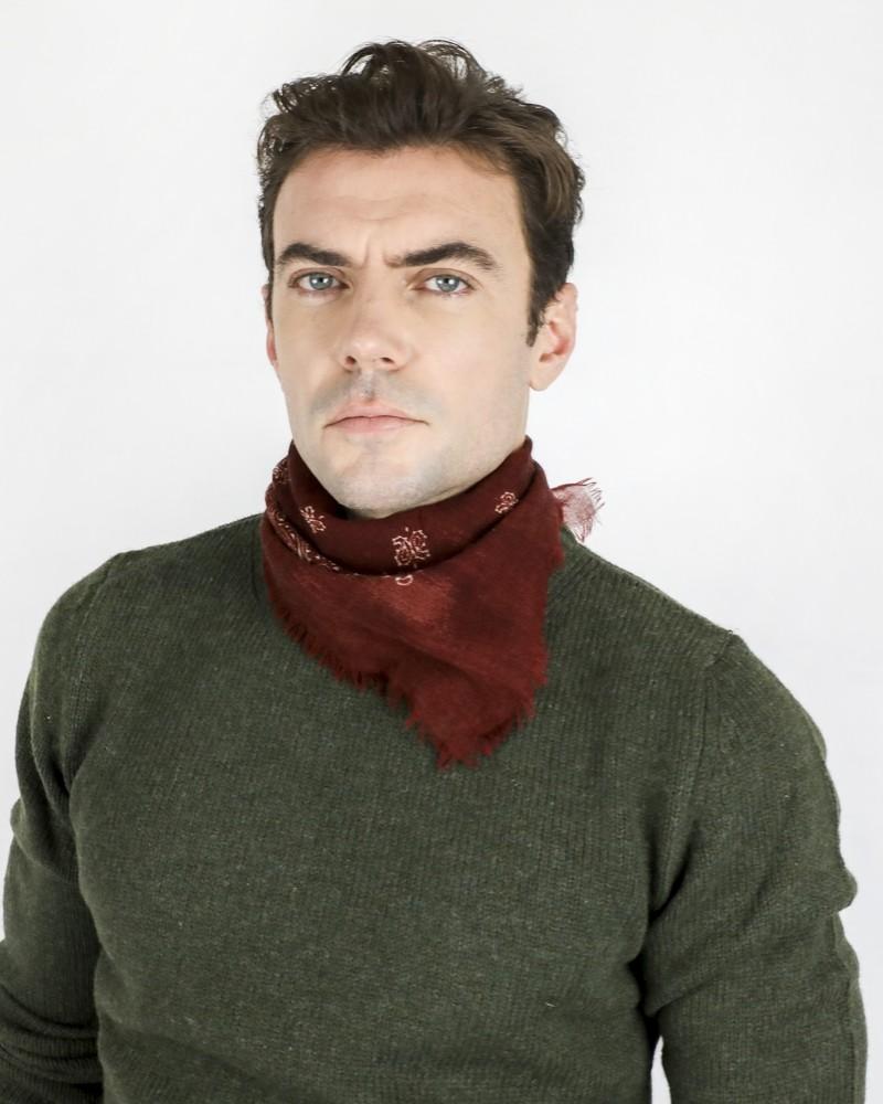 Bandana en laine bordeaux à motifs fantaisies Daniele Alessandrini