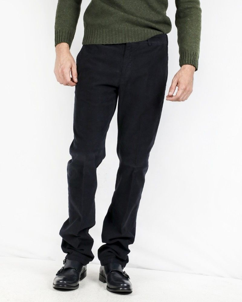 Pantalon regular en velours côtelé bleu Pal Zileri