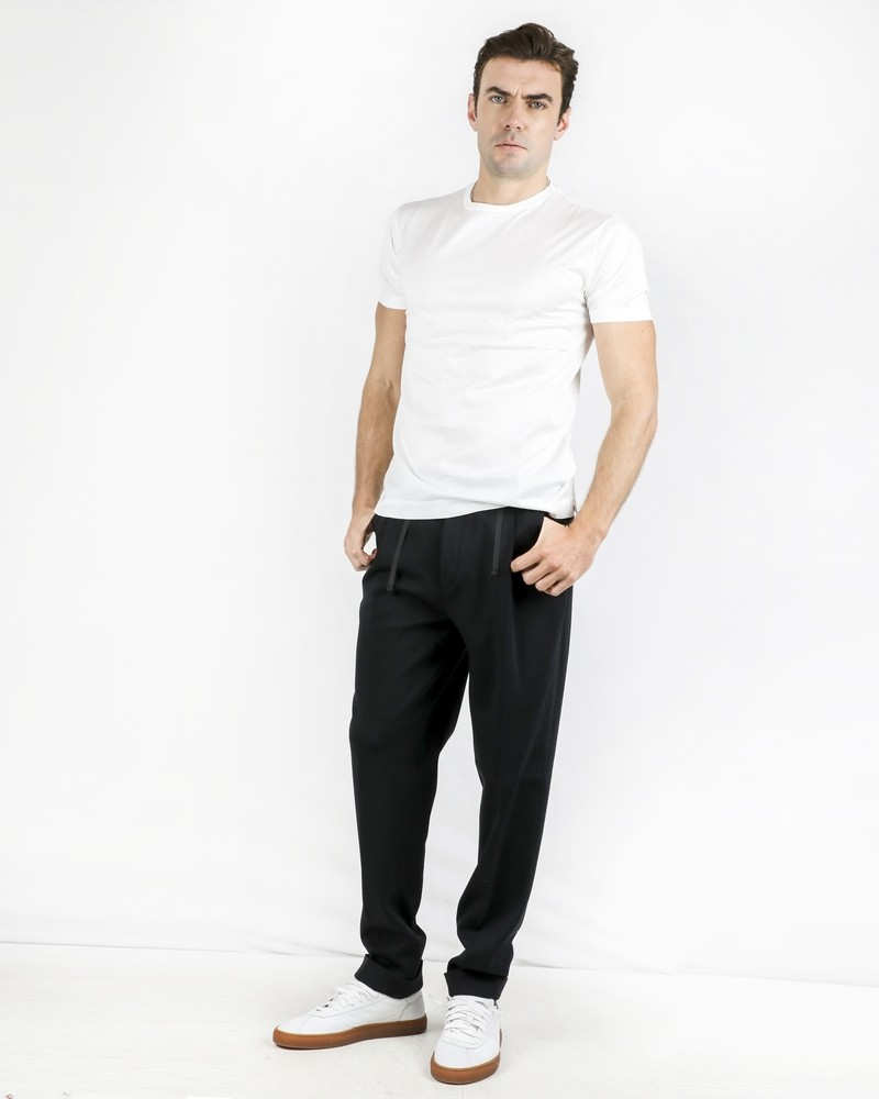 Pantalon façon jogging en laine noire Corneliani