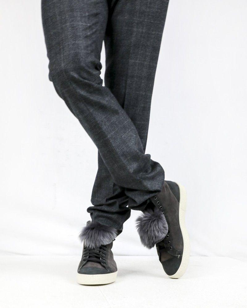 Chaussures montantes en daim taupe Cashaert