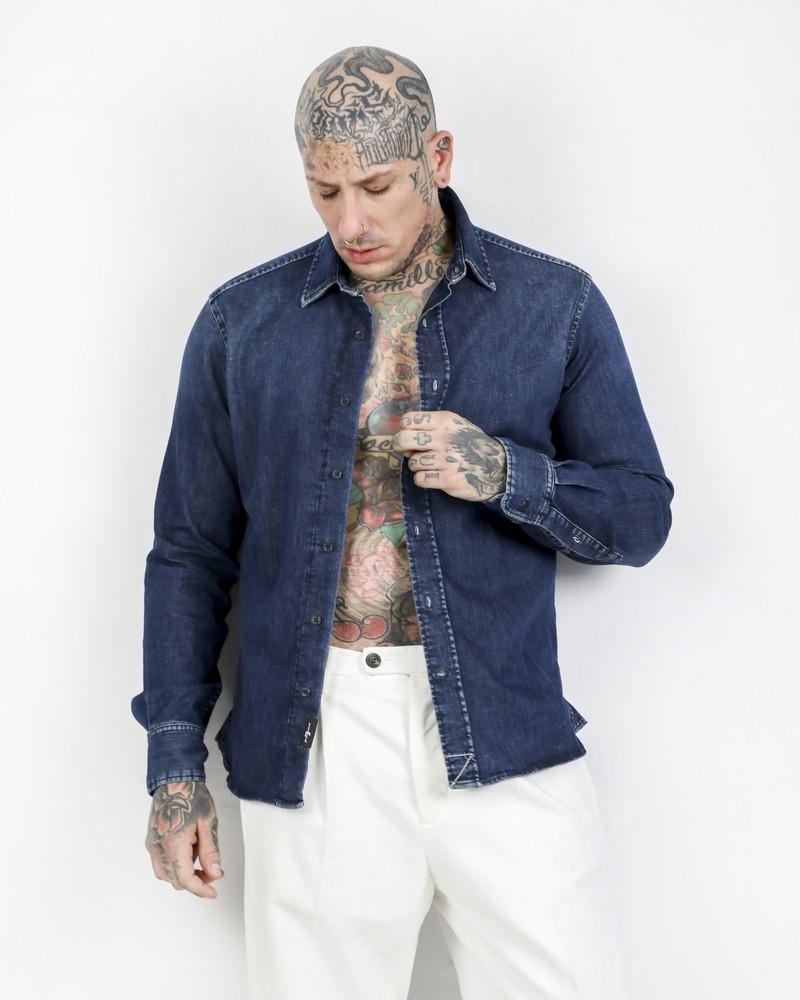 Chemise skinny en jean bleu 7 for All Mankind