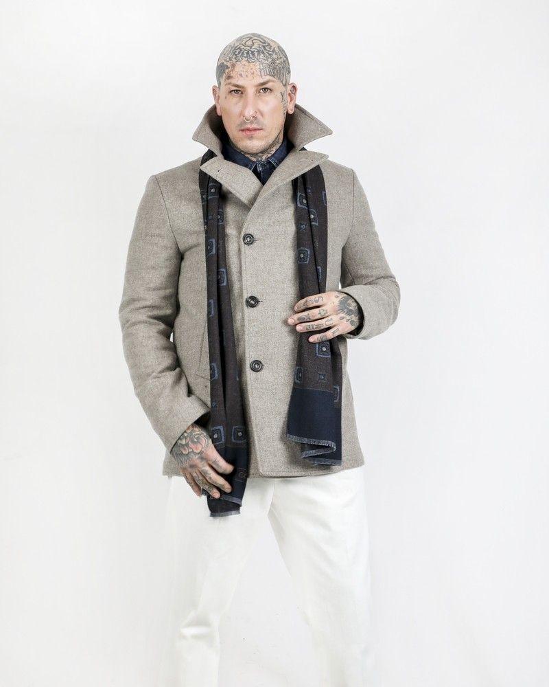 Manteau caban 100% laine taupe Corneliani