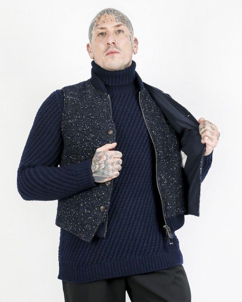 Blouson sans manches en tweed à gilet combiné Pal Zileri