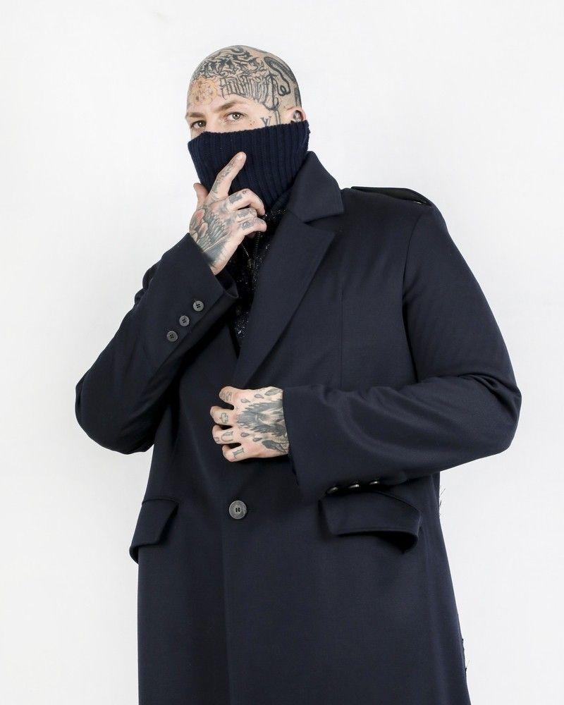 Manteau long 100% laine bleue côtelée Isabel Benenato