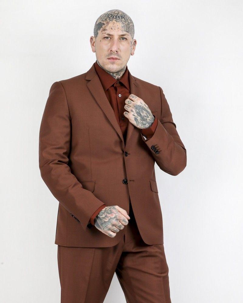 Costume 2 pièces en laine marron Roda
