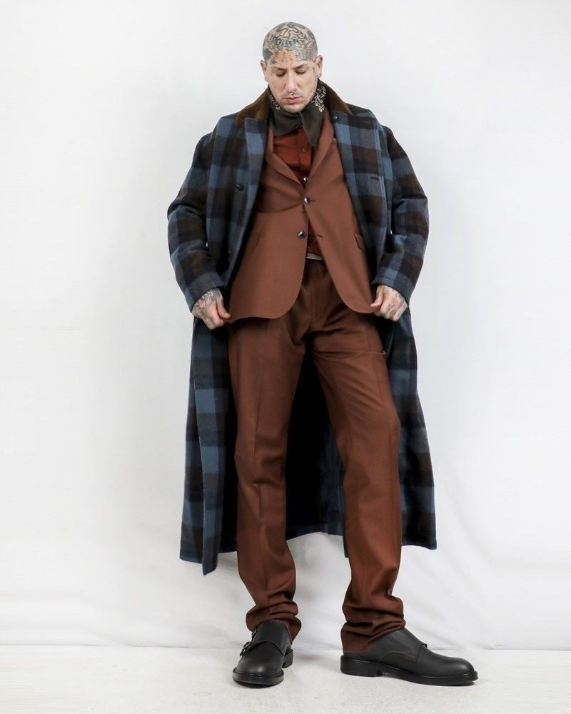 Manteau bleu à carreaux à col fourrure Pal Zileri
