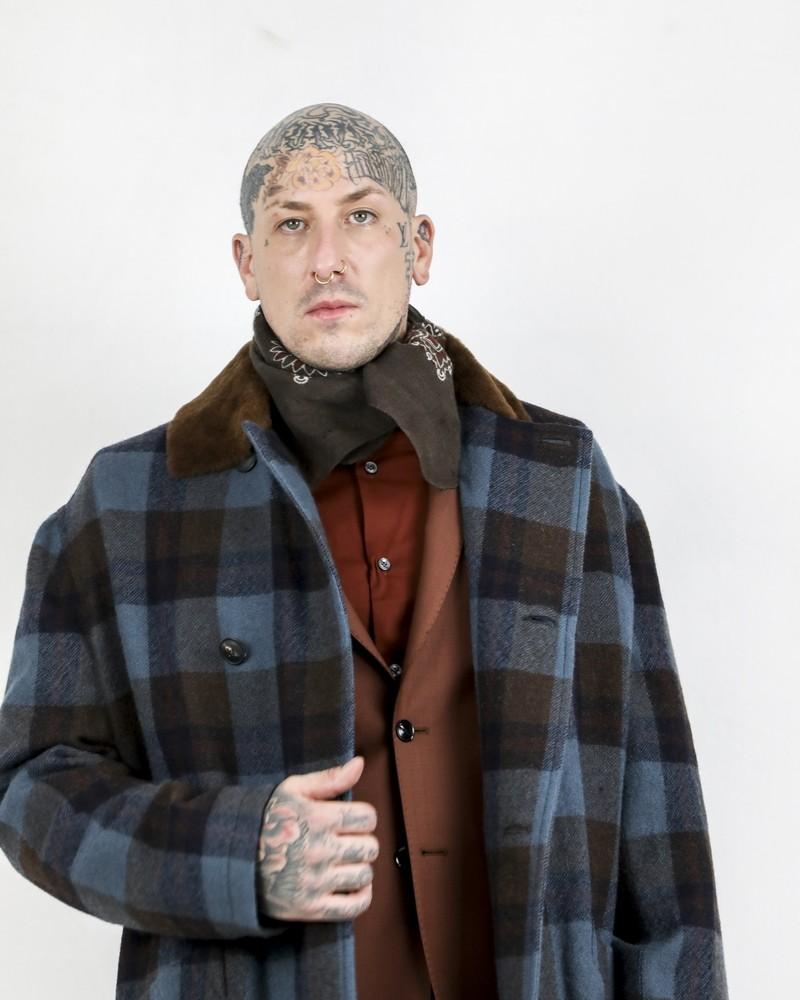 Bandana en laine marron à motifs cachemire Daniel Alessandrini