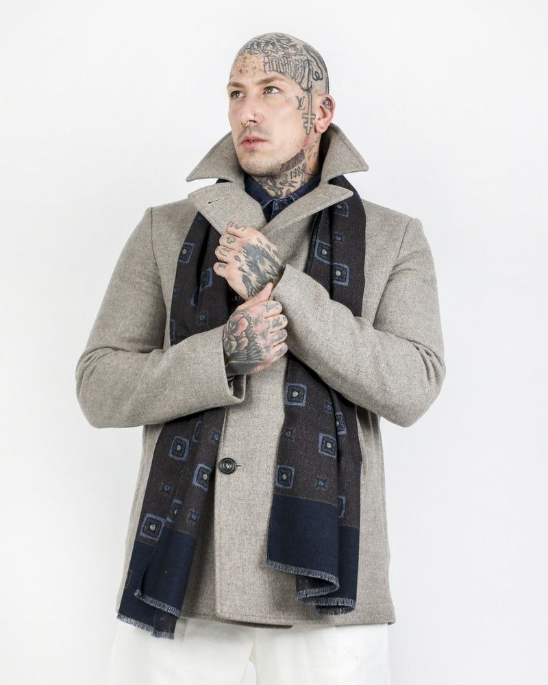 Maxi foulard 100% laine bicolore à motif Corneliani