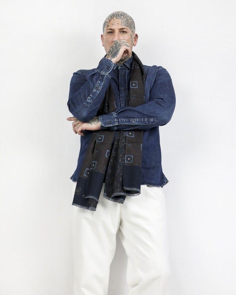 Maxi foulard 100% laine bicolore à motifs Corneliani