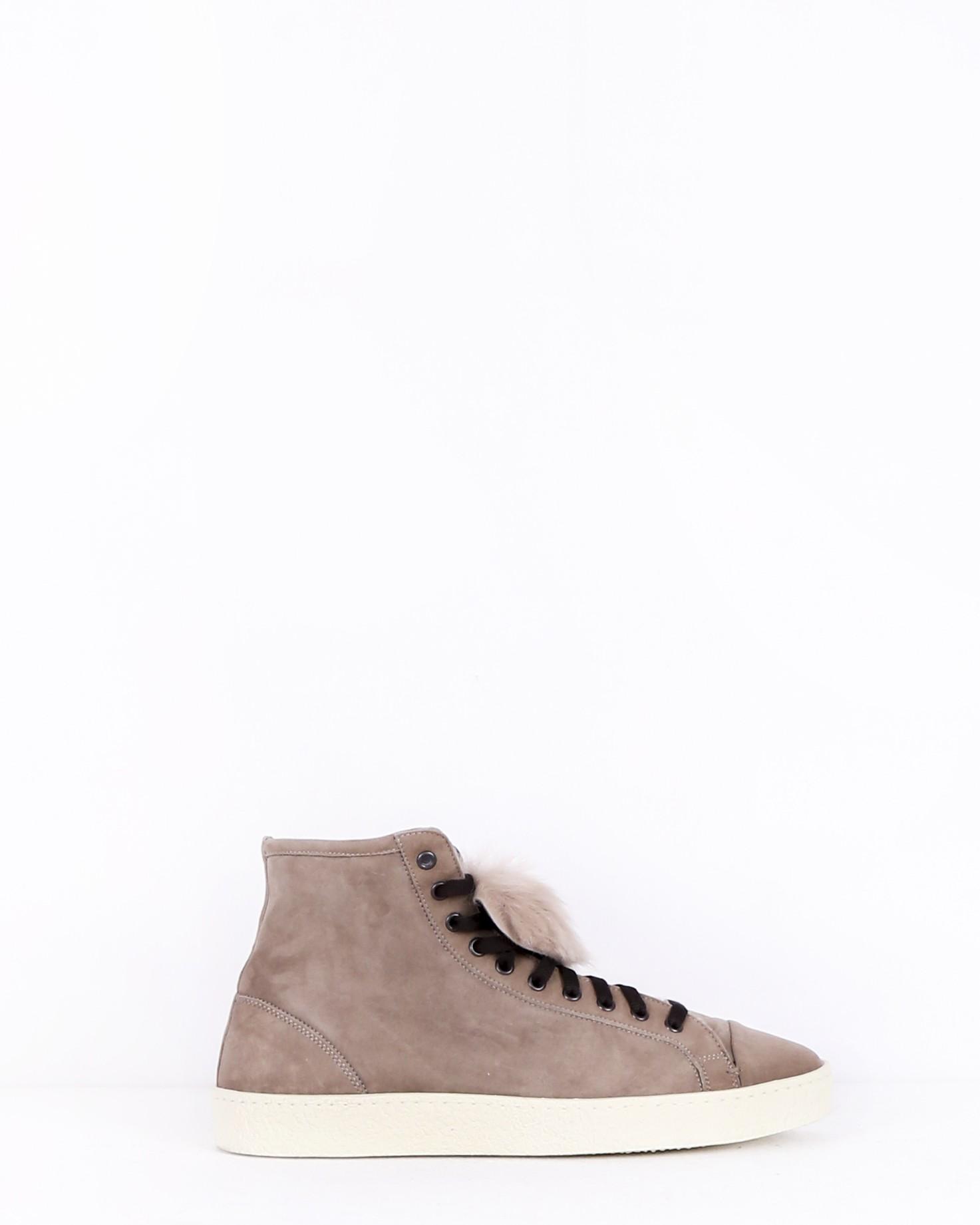 Chaussure montante en nubuck taupe à fourrure Casheart